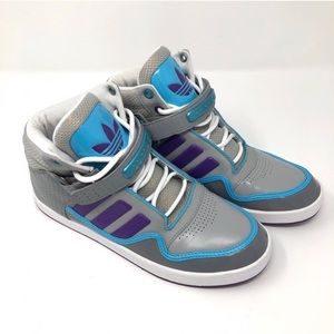 Adidas NWOT Blue Purple and Grey High Top Sneakers
